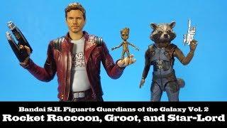 S.H. Figuarts Star Lord, Rocket Raccoon, and Groot Guardians of the Galaxy Vol 2 Bandai Tamashii