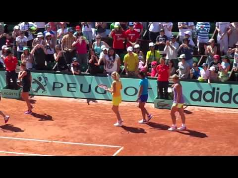 WTA players joining ATP doubles - Kids day RG 2012
