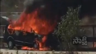 Fire in Car at Outer Ring Road in Hyderabad