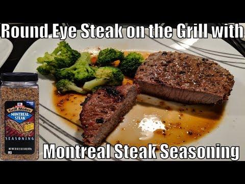 Round Eye Steak On The Grill With Montreal Steak Seasoning