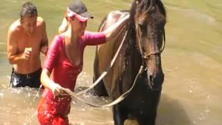 поход на конях в горах к озеру