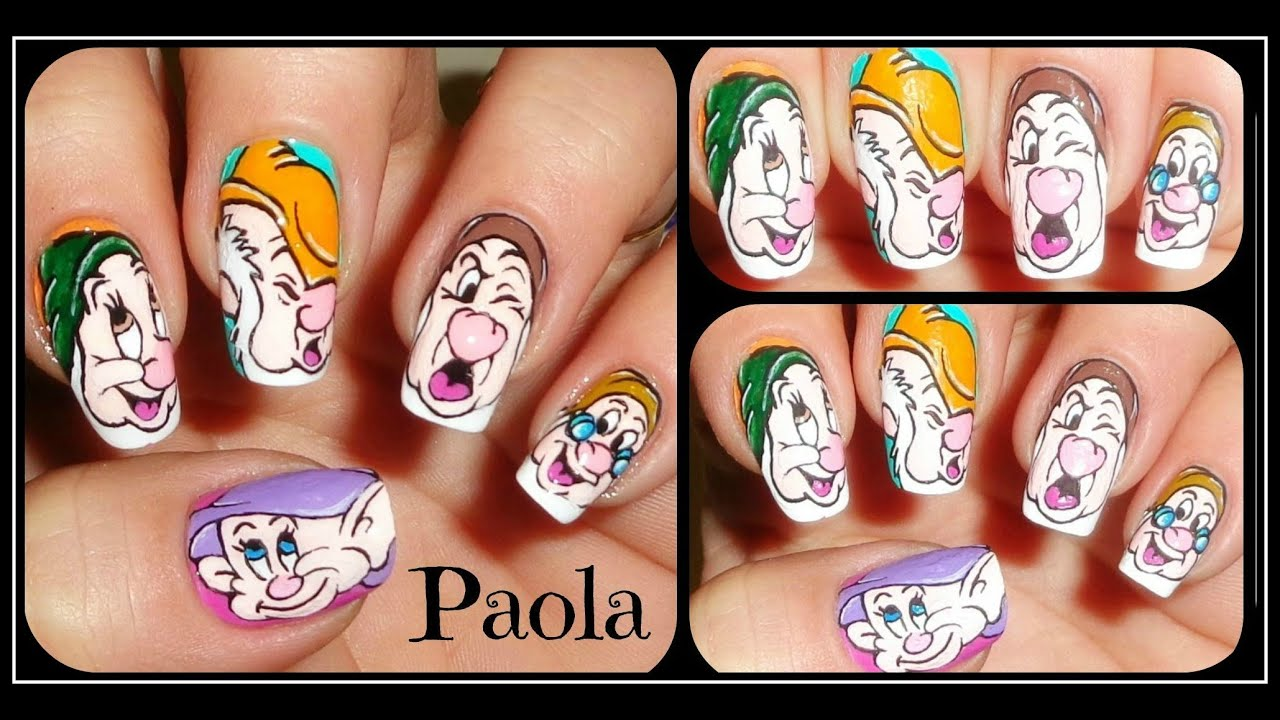 Walt Disney I Sette Nani Nail Tutorial Krystal Youtube