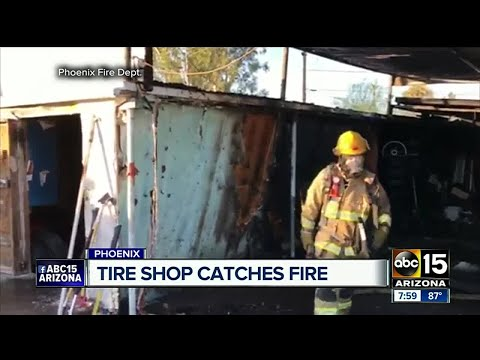 Firefighters contain fire at Phoenix tire shop