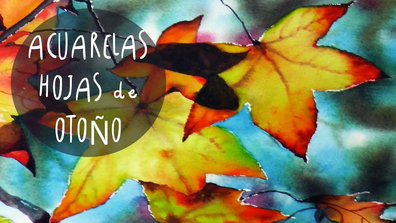 Acuarelas como pintar HOJAS de OTOÑO by ART Tv (papel VIDALON y ...