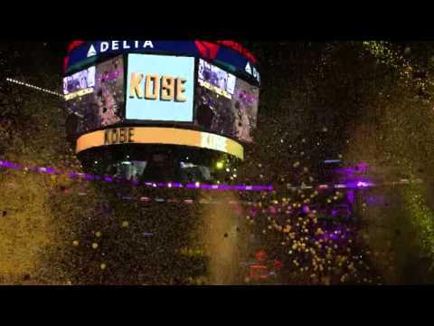 Kobe celebration - confetti falling - Staples Center - 4/13/16