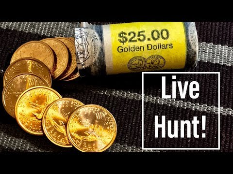 Live Coin Roll Hunting! US Mint Roll Of 2000 P Gold Dollars For Rare & Valuable Varieties!
