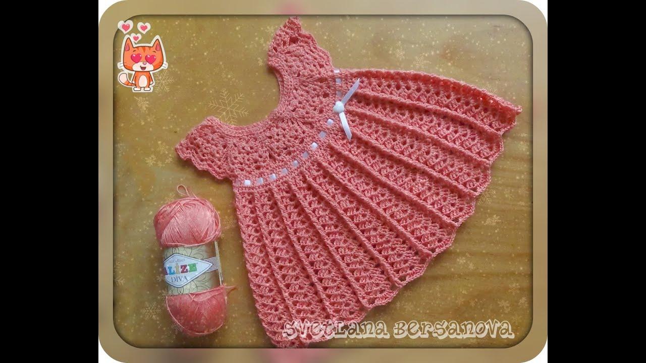 Вязать крючком платье для девочки на круглой кокетке крючком