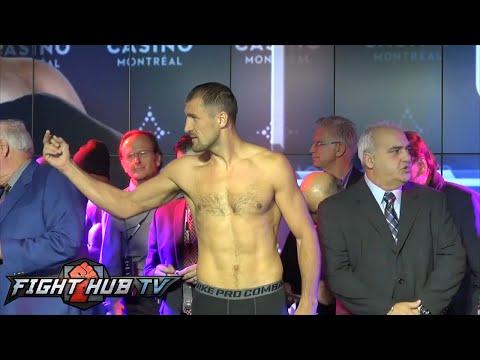 Sergey Kovalev vs. Jean Pascal Full Video: Weigh in + Kovalev flips Pascal off