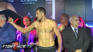 Sergey Kovalev vs. Jean Pascal Full Video: Weigh in + Kovalev flips Pascal off