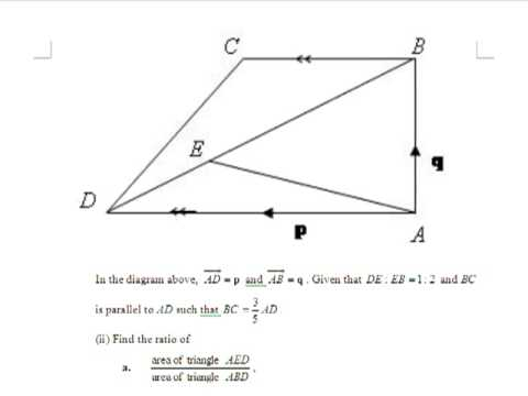 GCE O-Level E-Maths: Finding Ratio of Areas in Vectors