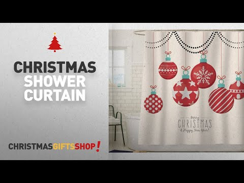 Top Christmas Shower Curtain Ideas: Sunlit Red Holiday Star Ornaments and Snowflake Christmas Ball