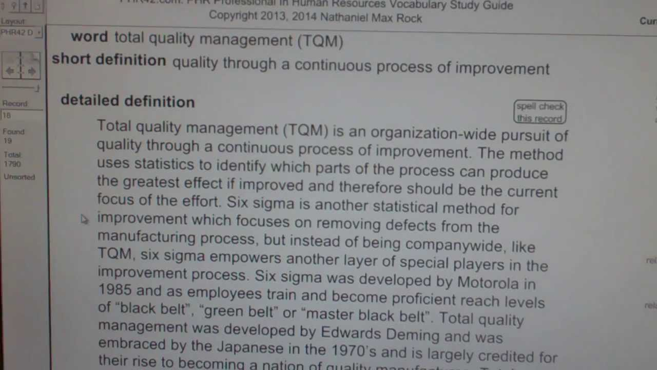 Total Quality Management Tqm Phr Sphr Professional In Human