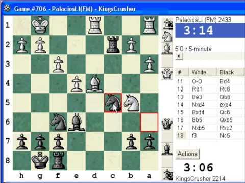 Mieses opening : LIVE Blitz Chess #415 vs FM PalaciosLI (2433) (Chessworld.net)