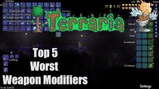Terraria Top 5 Worst Weapon Modifiers | Terraria Countdown