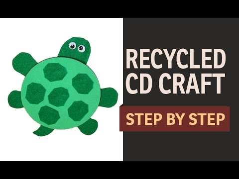 How to make a cd turtle waste cd craft ideas recycled for Hand works with waste things