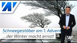 Schneegestöber am 1. Advent! Krallt sich nun der Winter fest?