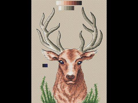 Схема олень вышивка
