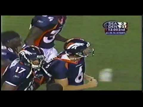 65 yard fieldgoal, by Ola Kimrin Denver Broncos 2002
