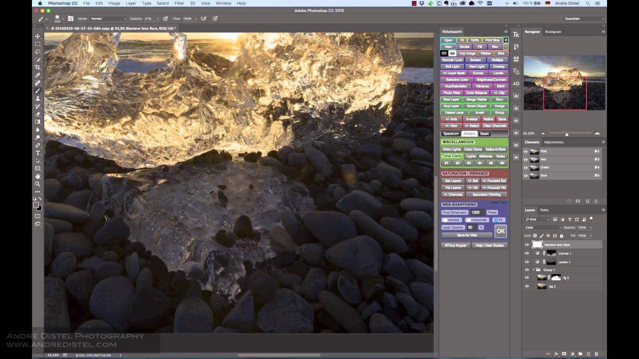 How to remove lens flare in Photoshop