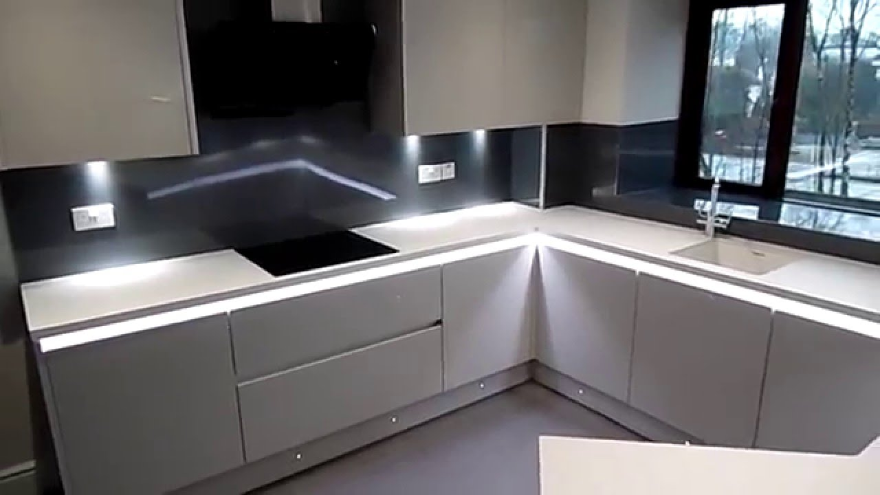 Light Grey Kitchen handleless light grey kitchen, newton mearns, glasgow - youtube