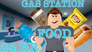 24HOUR GAS STATION FOOD ONLY| Roblox Bloxburg Challenge| with Coolboy