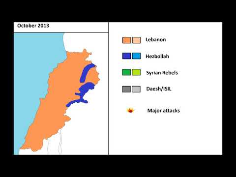 The Spillover of the Syrian war in Lebanon, every month