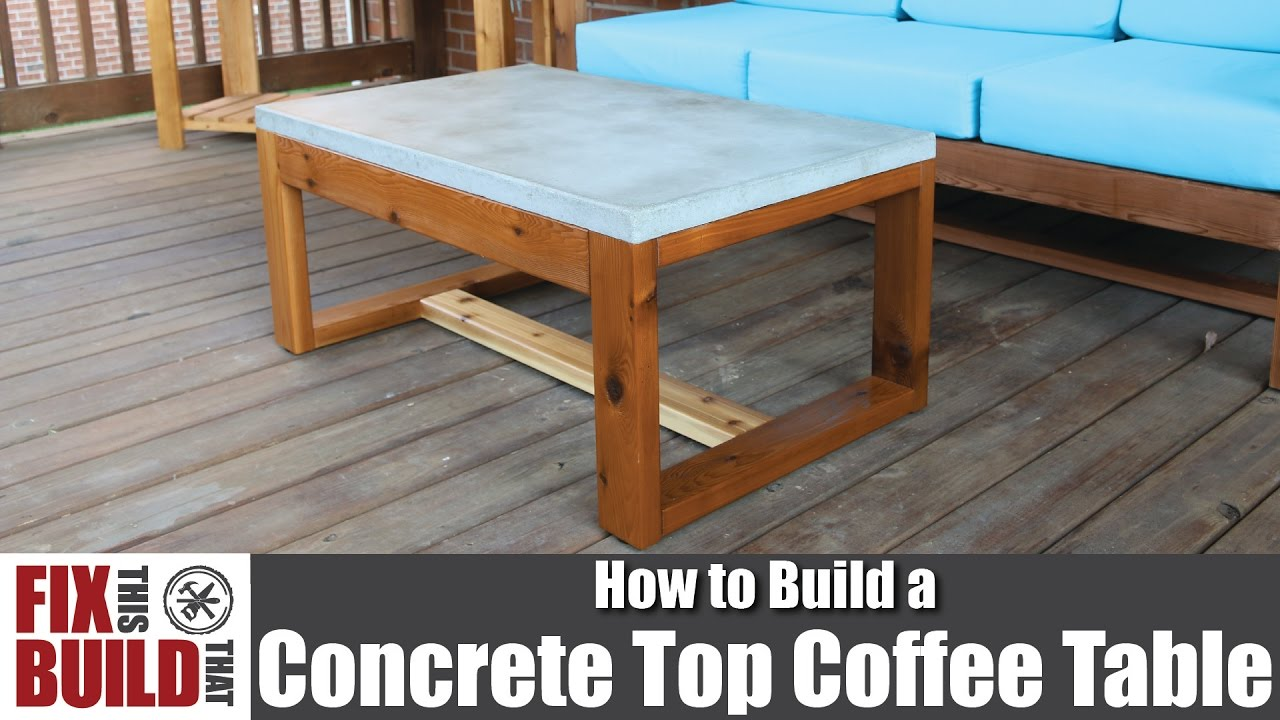 DIY Concrete Top Outdoor Coffee Table How To Build YouTube - Outdoor rectangular coffee table cover