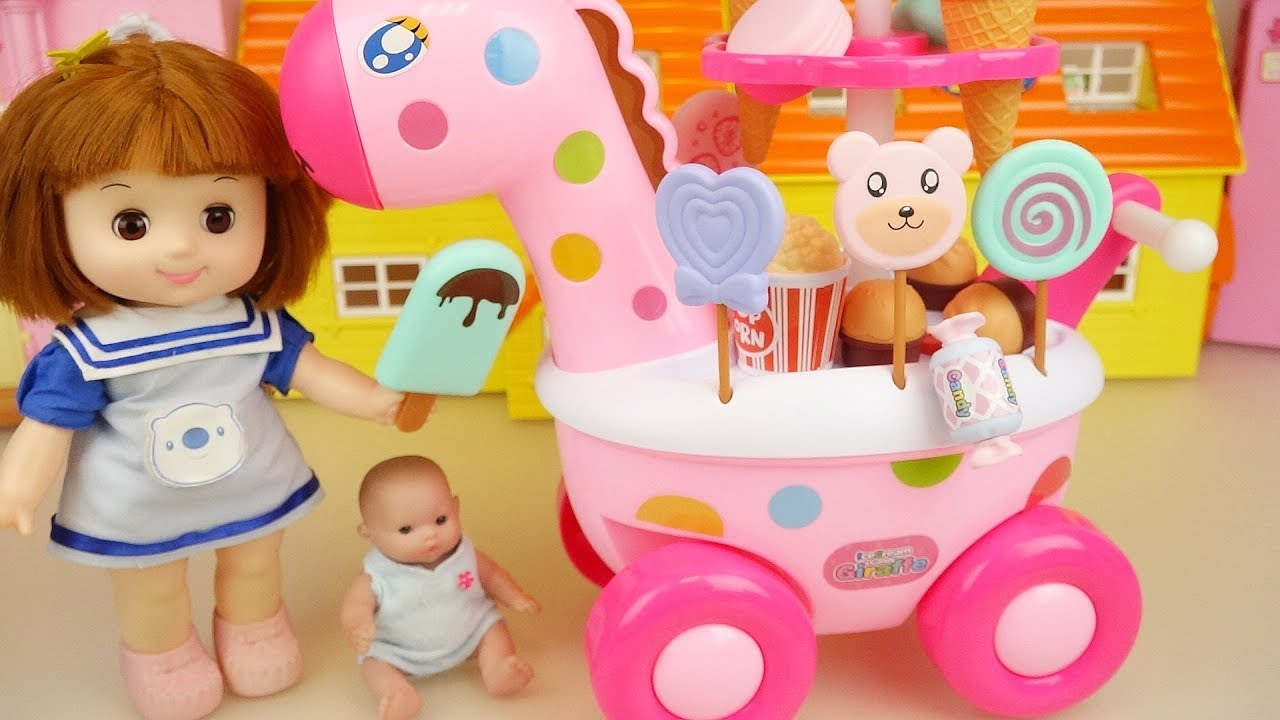 Baby doll and Ice cream giraffe car play baby Doli house