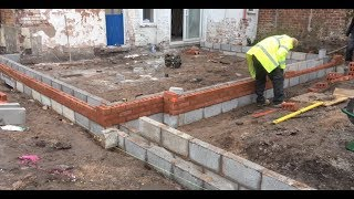 Bricklaying up to damp course, in Knutsford Cheshire