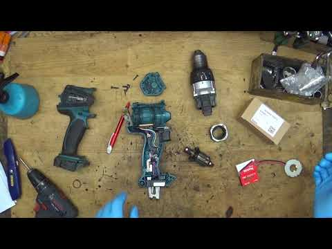 How to replace armature carbon brushes and holder for Makita DDF458 18V li ion cordless LXT drill