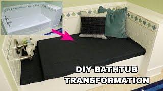 DIY BATHTUB TO SEATING AREA TRANSFORMATION | BATHROOM REMODEL