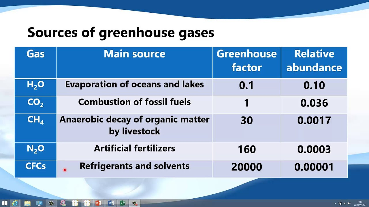 The main features of representative gases