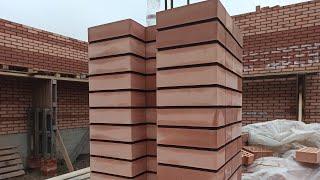 Кладка кирпичного столба под кирпичные перемычки стройка в Чеченском Кладка кирпичной колоны