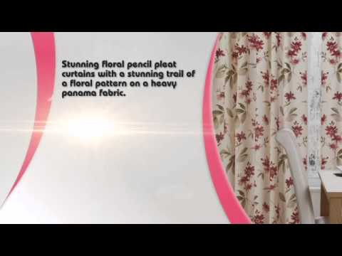 amazon red cream floral pencil pleat curtain