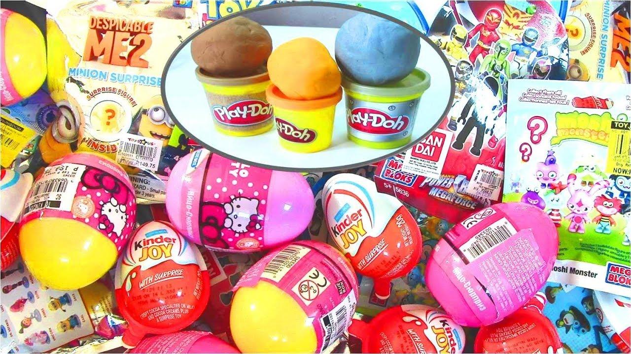 Play Doh Surprise Egg Mega Bloks Power Rangers Smurfs Dragon Ball Z Monsters Inc Kinder Surprise Egg