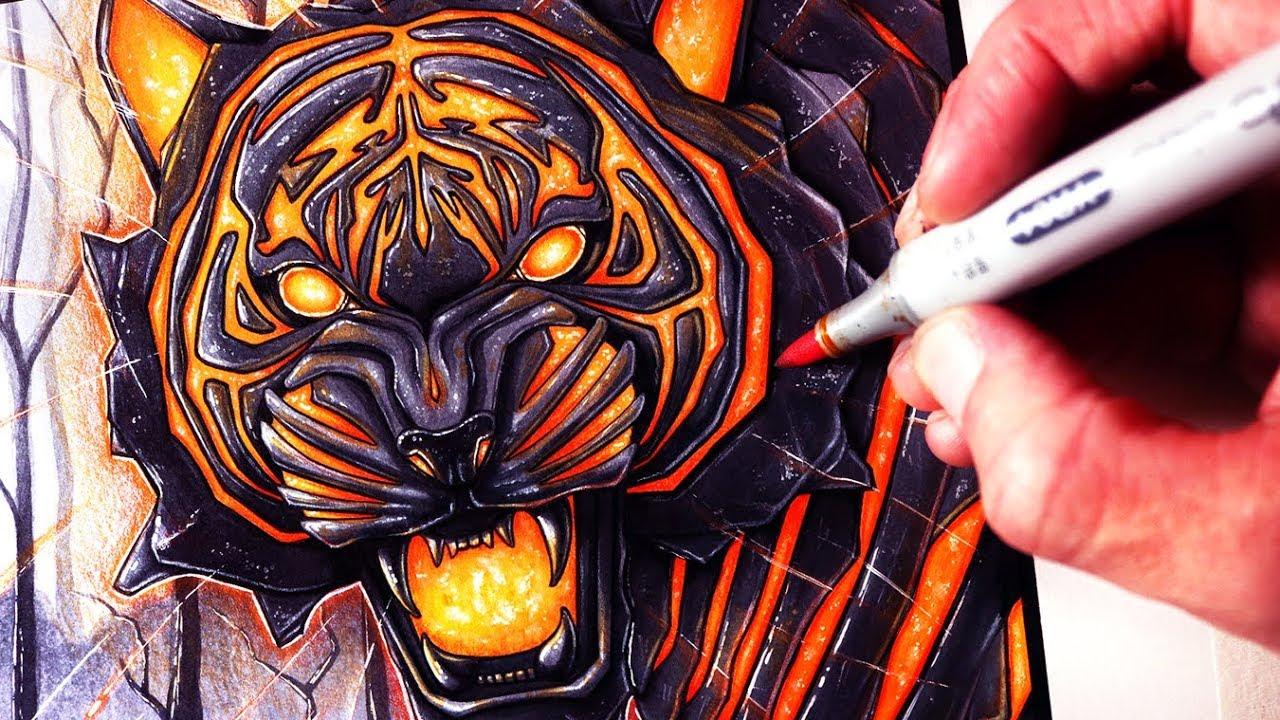 Let S Draw A Lava Tiger Fantasy Art Friday