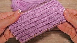 Узор «Горизонтальные колоски» спицами | Horizontal spikelets knitting pattern