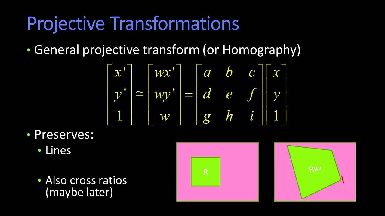 how to find projective transformation matrix