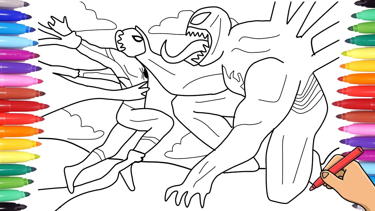 Spiderman Vs Venom Coloring Pages How To Draw Marvel Venom And