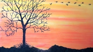 How to draw sunset with pastel - Return To Home - Time Lapse