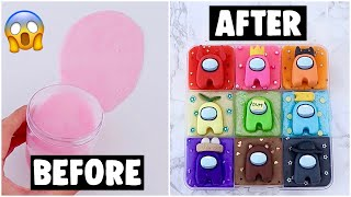 9 EXTREME AMONG US SLIME PALETTE MAKEOVERS! *fixing my 1 year old slimes*