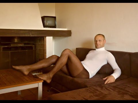 Pantyhose for men. Guy in pantyhose & tights, sport and passion.