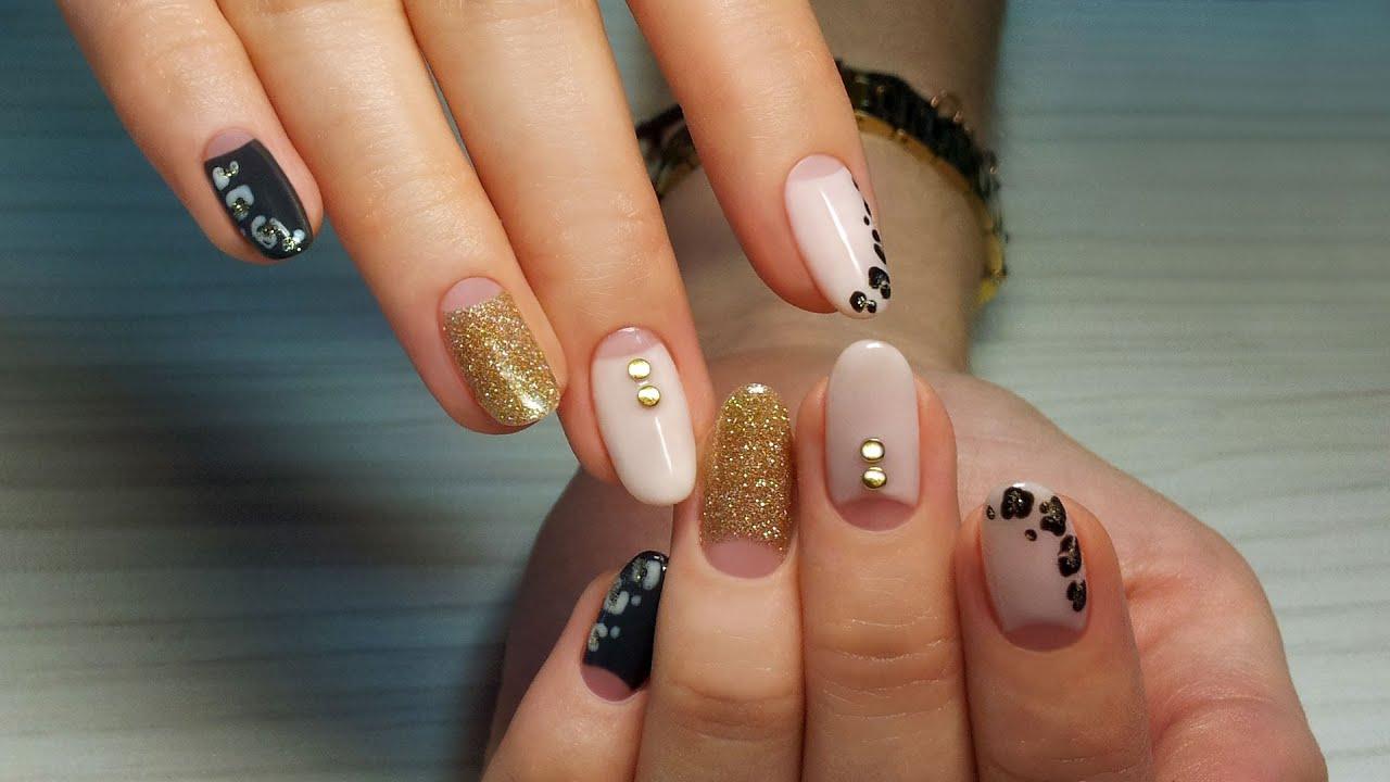 Дизайн ногтей гель-лак shellac - Роспись + стразы + блестки (видео уроки  дизайна ногтей)