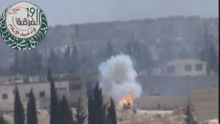 Dramatic footage of Syrian rebel missile blowing up a tank