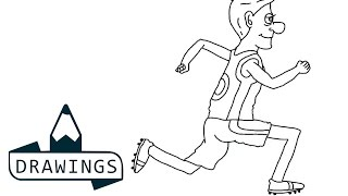 Speed drawing : How to draw a Running boy
