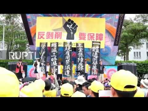 Taiwan: Thousands protest for better labour conditions in Taipei
