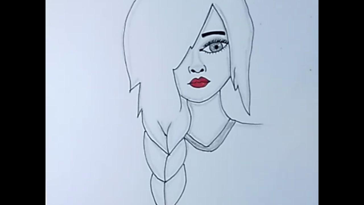 رسم سهل طريقة سهلة لتعليم رسم بنت كيوت خطوة بخطوة رسم بنات تعليم