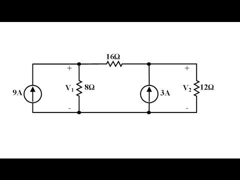 Devre Teorisi Ders 16 Düğüm Analiz Yöntemi Örnek 1 (Nodal Analysis Example 1)