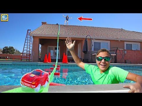 Giant Magic Tracks Bridge Over the House and Swimming Pool!!