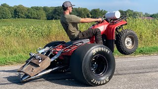 Sleeper Fourwheeler spins DRAG SLICKS with a 250lb wheelie bar